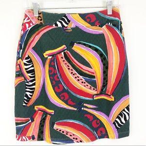 Anthropologie Farm Rio Banana Mini Skirt Sz XS NWT